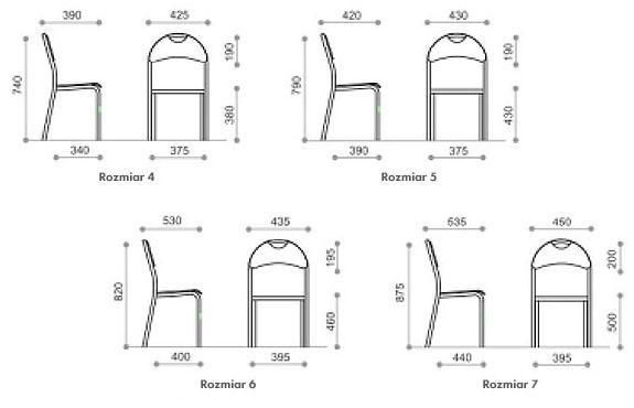 Wymiarowanie rozmiarów krzeseł Bolek 4-7